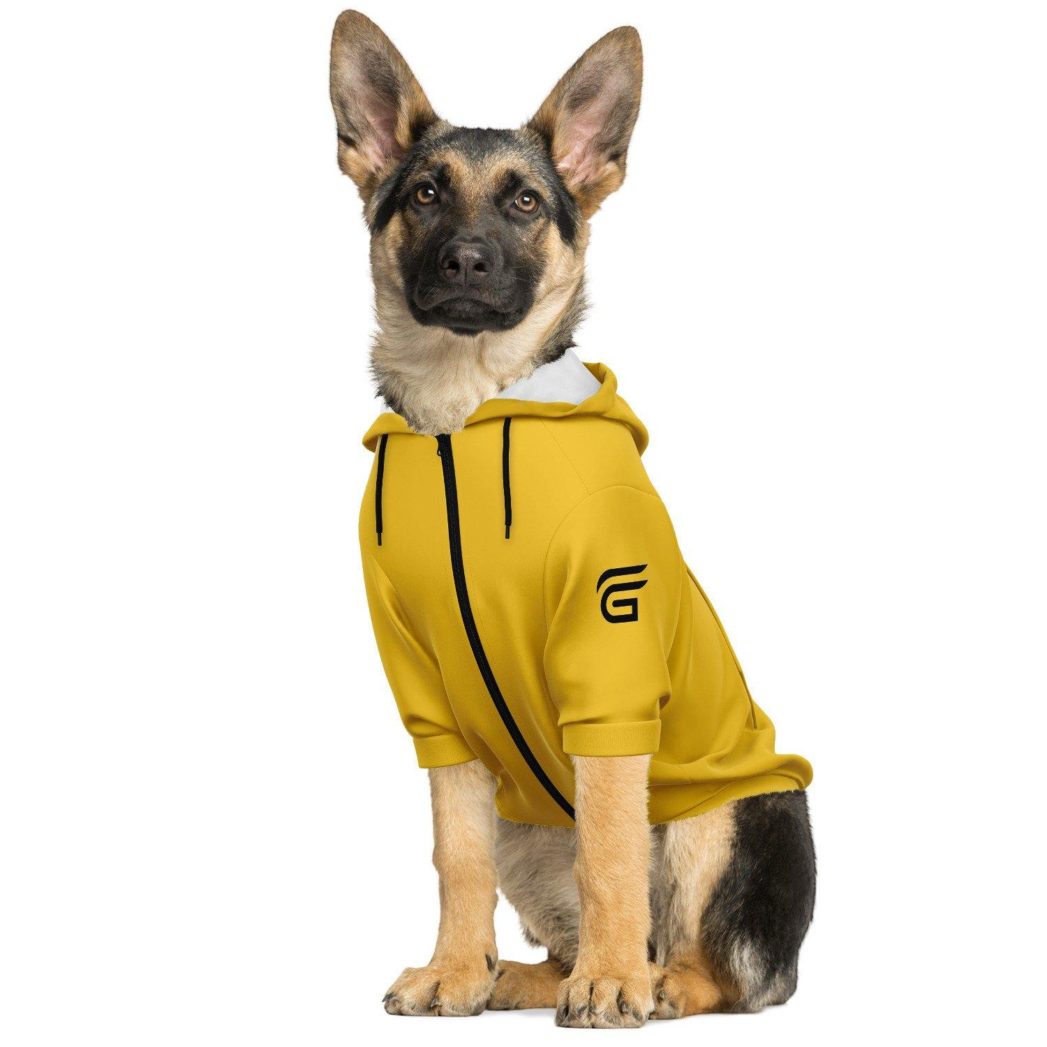 The Dood Fashion Dog Zip-Up Yellow Hoodie - AOP - Get Set Style Metro