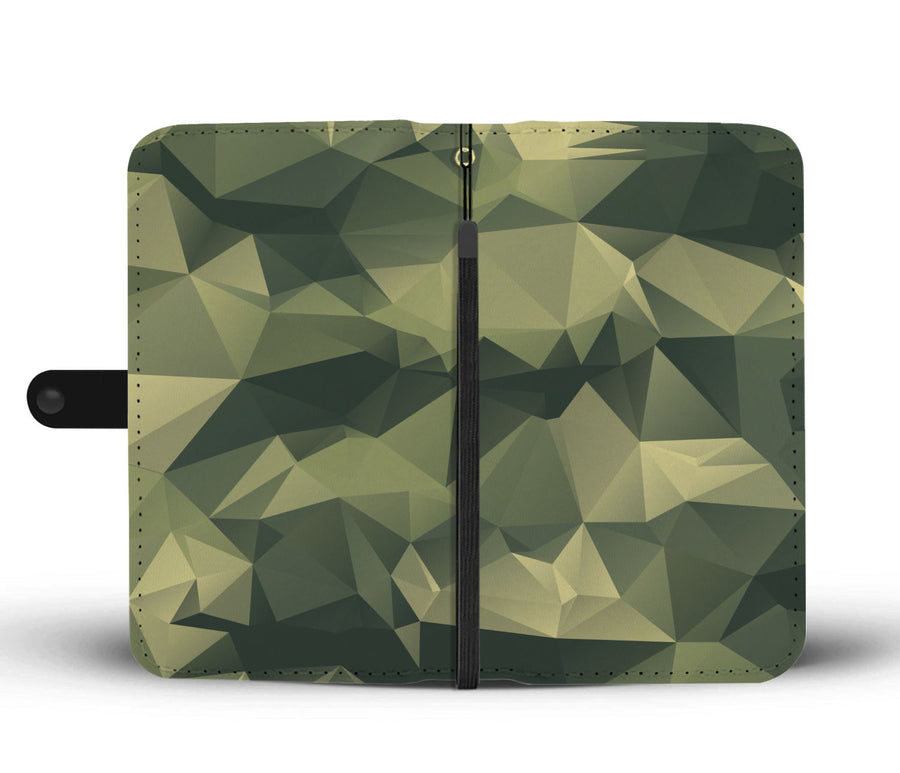 Polygonal Camouflage Army Pattern RFID Wallet Phone Case