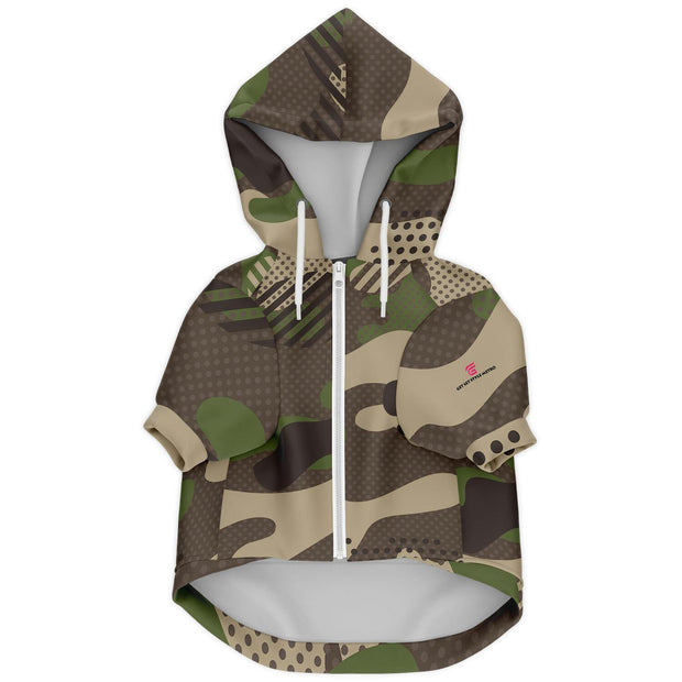 Brown Camouflage Fashion Dog Zip-Up Hoodie - AOP - Get Set Style Metro