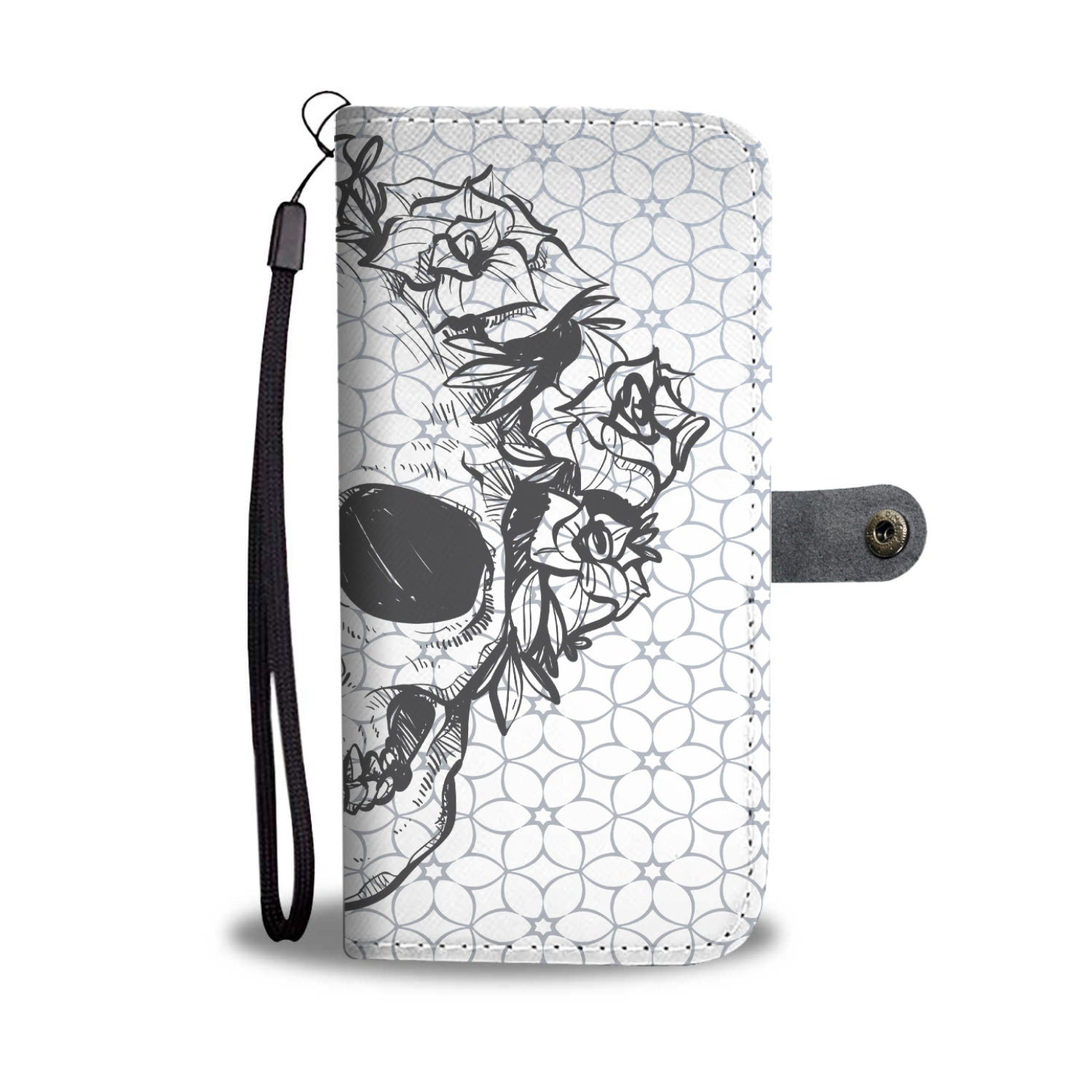 Awesome Skull With Flowers Design Wallet Phone Case