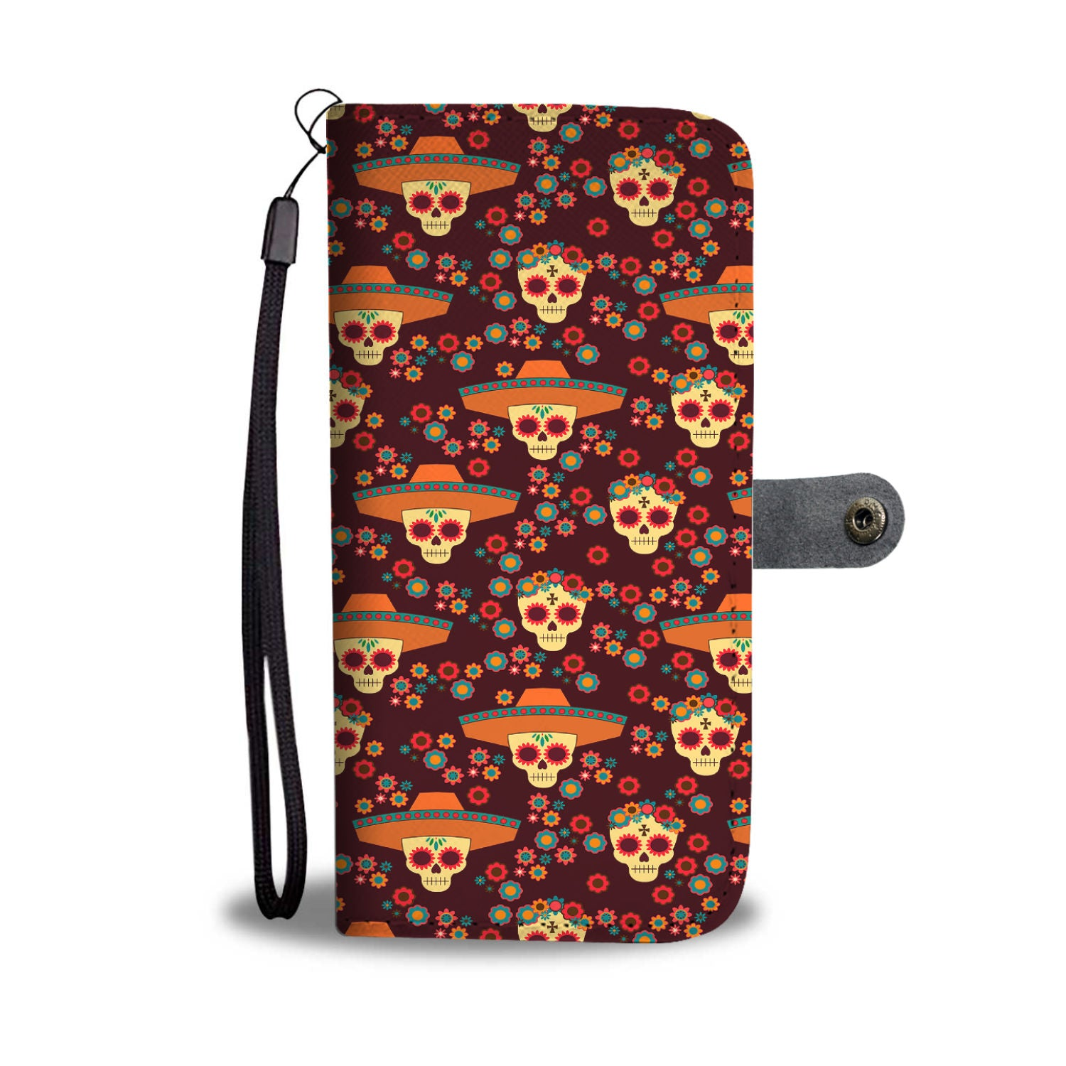 Awesome Skull Pattern For Dia De Muerto Wallet Phone Case
