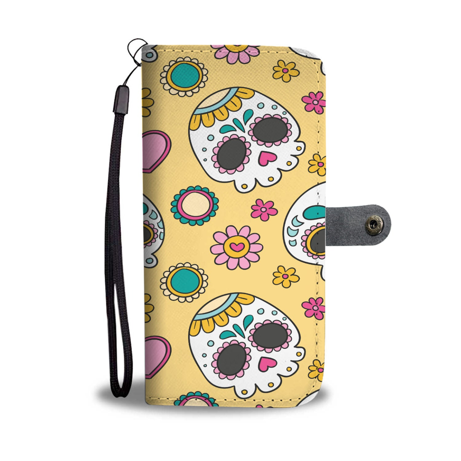 Awesome Beige Skulls Pattern RFID Wallet Phone Case