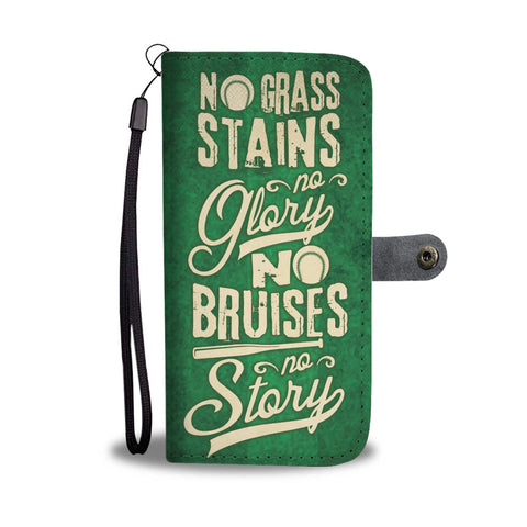 Softball No Stains No Glory Custom Design RFID Wallet Phone Case