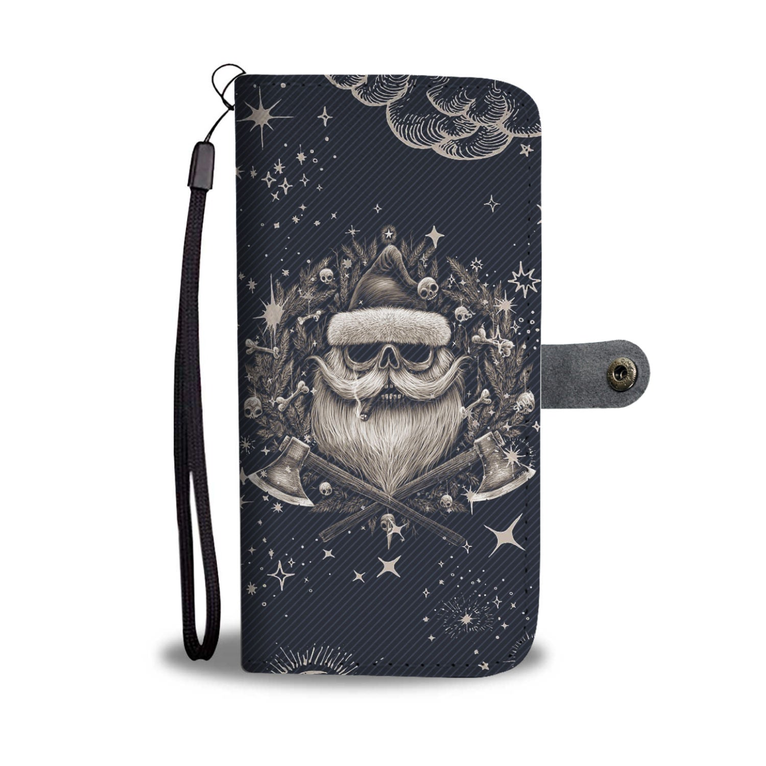 Awesome Santa Skull RFID Wallet Phone Case Limited Edition