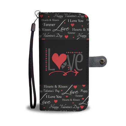 Love In Black Background RFID Wallet Phone Case
