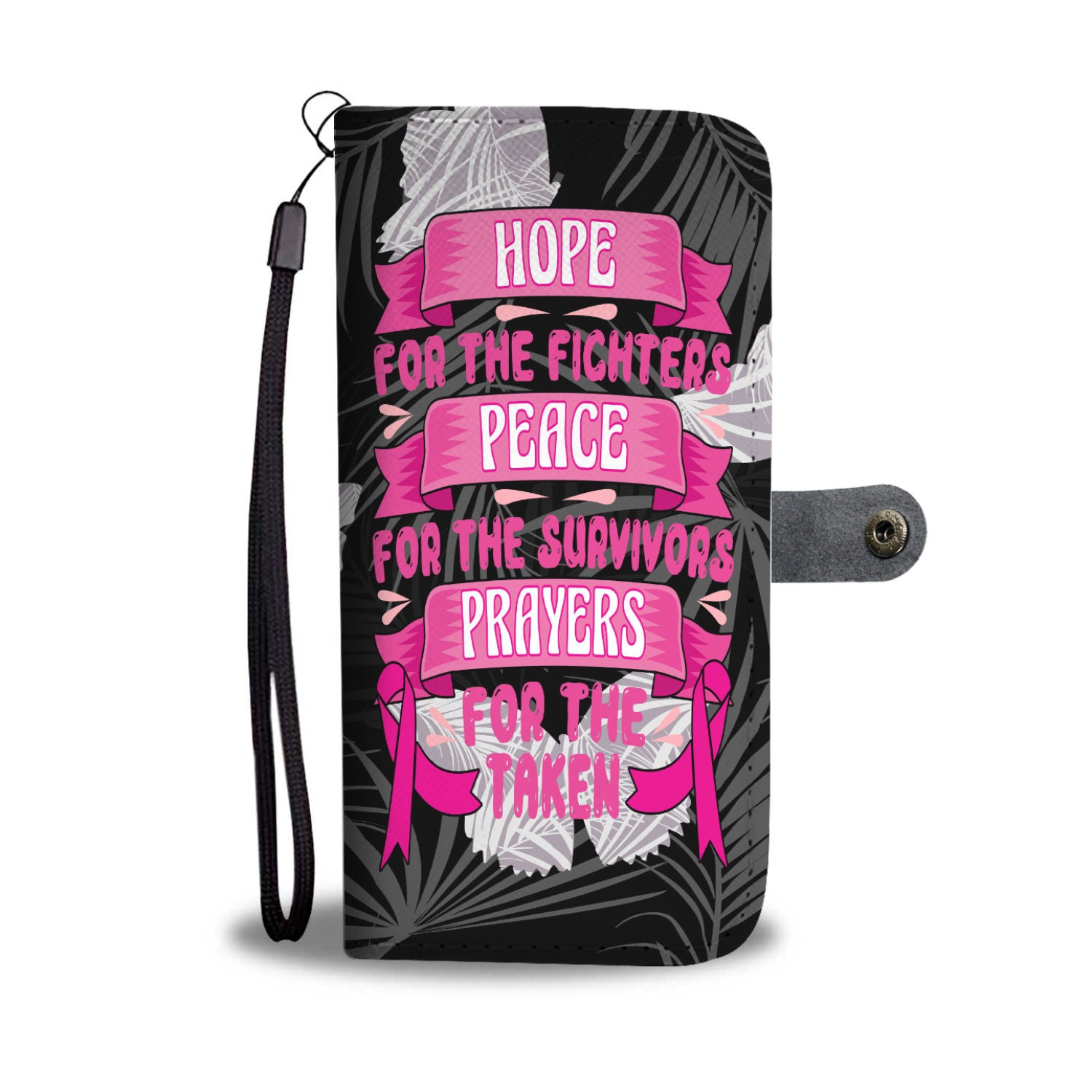 Breast Cancer Hope Peace And Prayers With Butterflies RFID Wallet Phone Case
