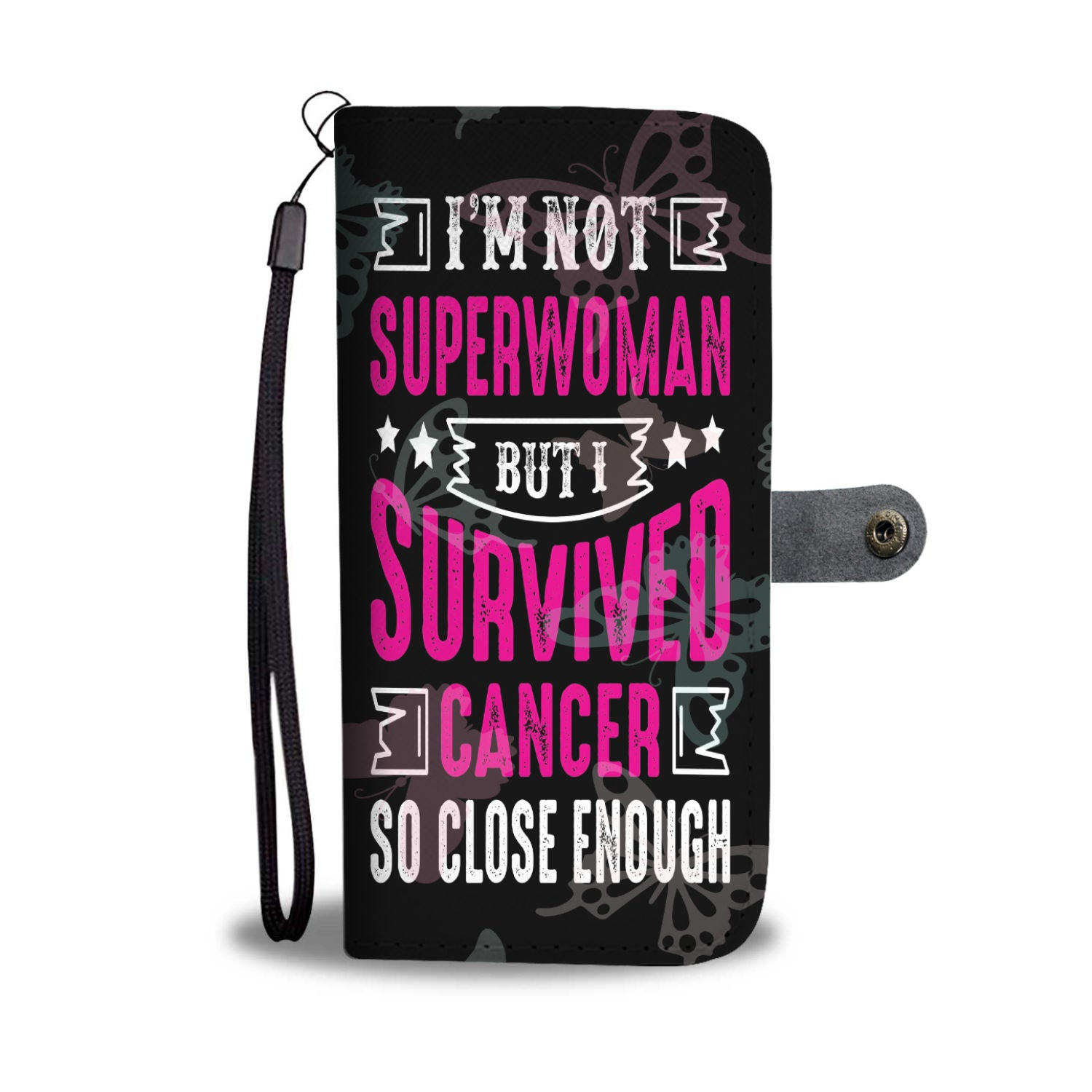 Breast Cancer Superwoman Fighting Cancer Black RFID Wallet Phone Case