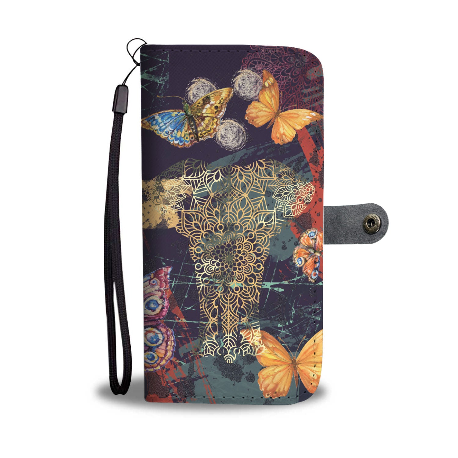 Elephant Spirit And Butterflies RFID Wallet Phone Case