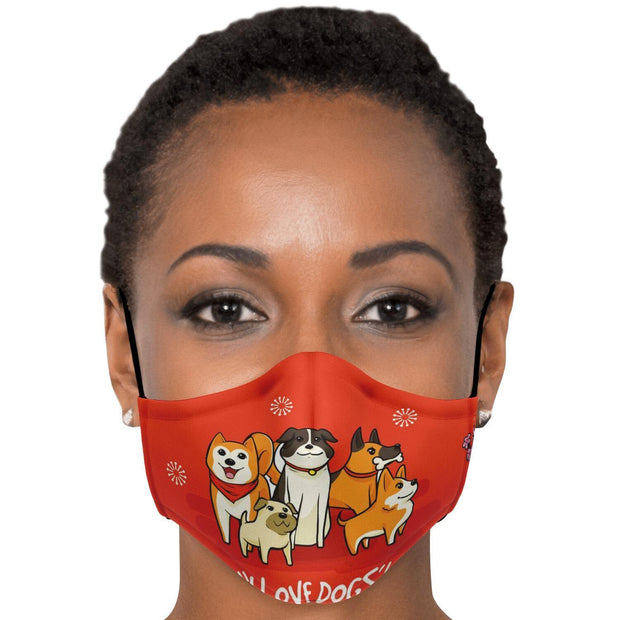 I Love Dogs Fashion Face Mask With PM2.5 Carbon Filter - Get Set Style Metro