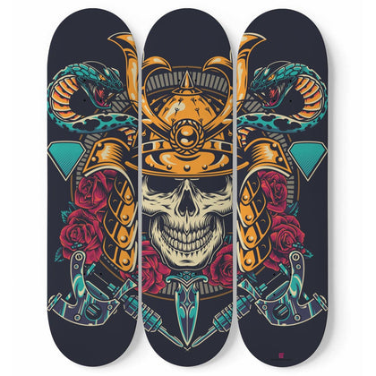 Samurai Tattoo Design Triple Skateboard Wall Art - Get Set Style Metro