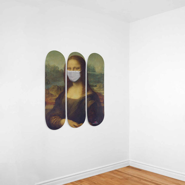 Mona Lisa Design Triple Skateboard Wall Art - Get Set Style Metro