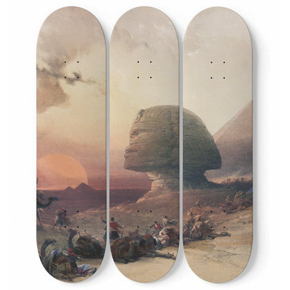 Desert of Gizeh By David Roberts Triple Skateboard Wall Art - Get Set Style Metro