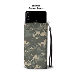 Camouflage Pattern RFID Wallet Phone Case
