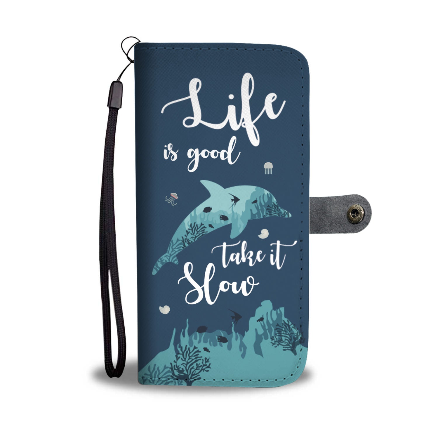 Life Is Good Take It Slow Dolphin RFID Wallet Phone Case