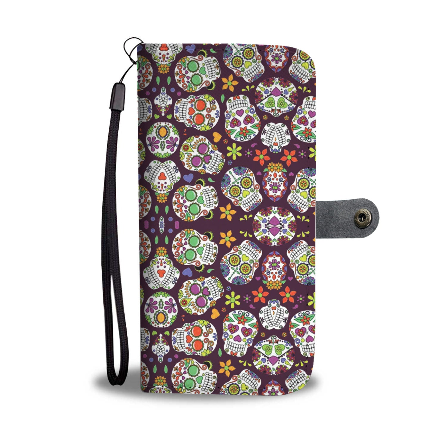 Sugar Skull Purple RFID Wallet Phone Case