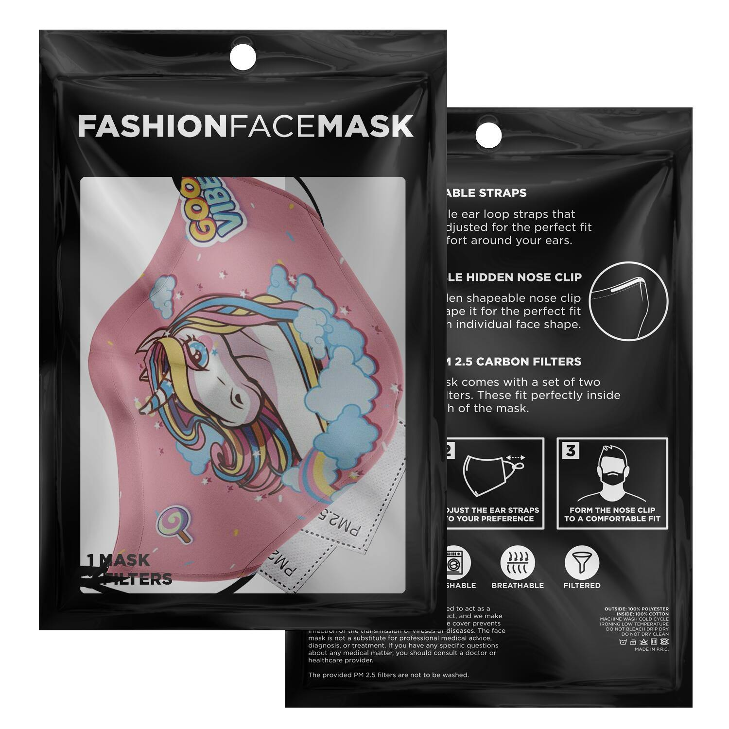 Unicorn Face Mask With PM2.5 Carbon Filter - Get Set Style Metro