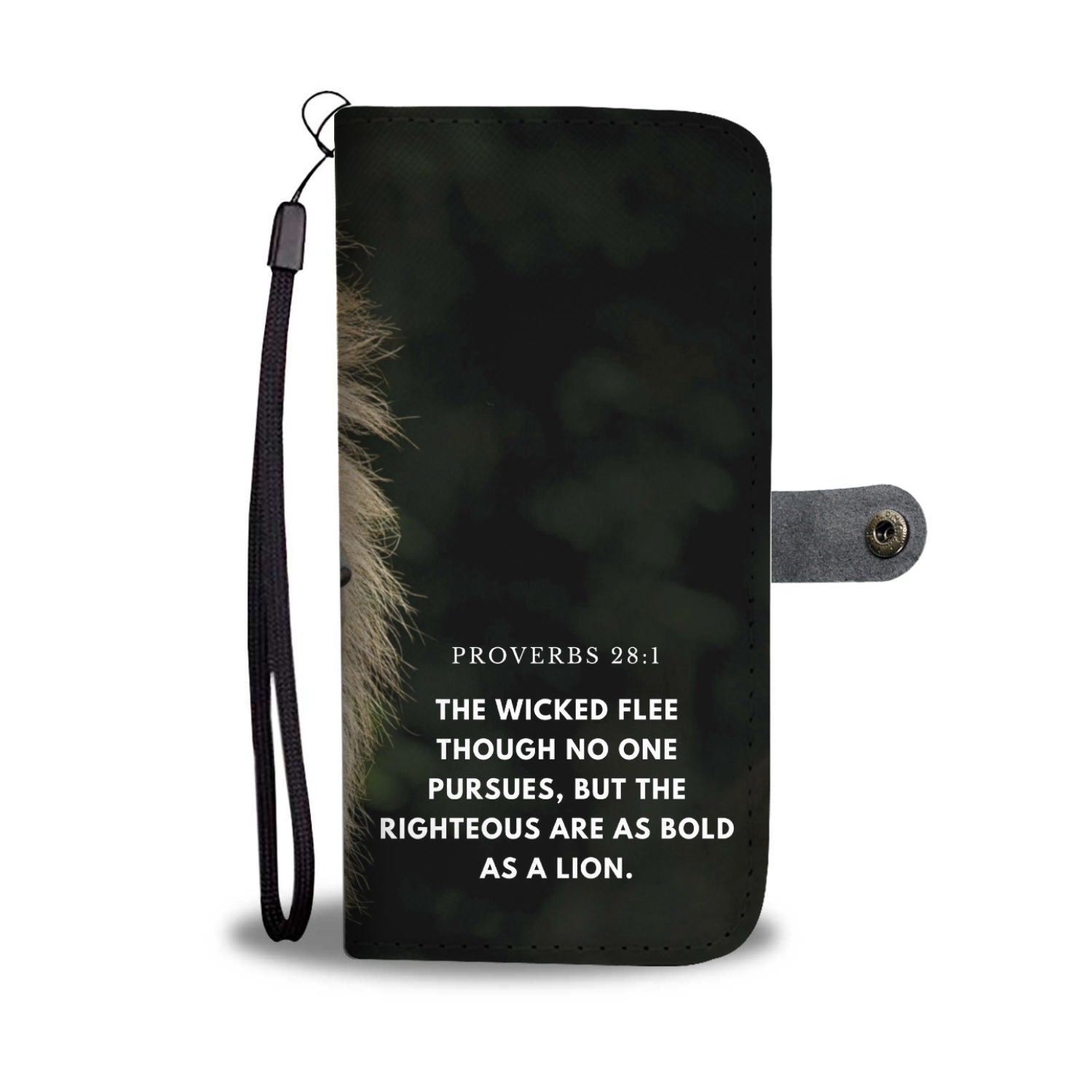 Proverbs 28:1 The Righteous Are As Bold As A Lion RFID Wallet Phone Case