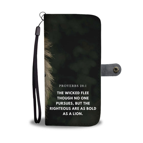 Proverbs 28:1 The Righteous Are As Bold As A Lion Wallet Phone Case - Get Set Style Metro