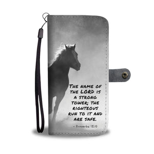 Awesome Bible Verse About The Name of the Lord Horse Wallet Phone Case - Get Set Style Metro