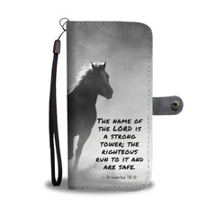 Awesome Bible Verse About The Name of the Lord Horse RFID Wallet Phone Case