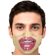 Wet Lips In Beige Fashion Face Mask With PM2.5 Carbon Filter - Get Set Style Metro