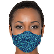 Blue Camouflage Fashion Face Mask With PM 2.5 Carbon Filter - Get Set Style Metro