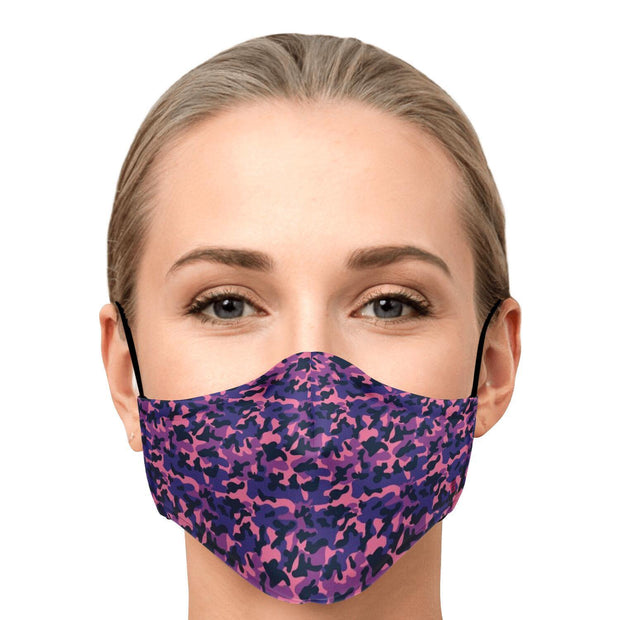 Purple Camouflage Fashion Face Mask With PM 2.5 Carbon Filter - Get Set Style Metro