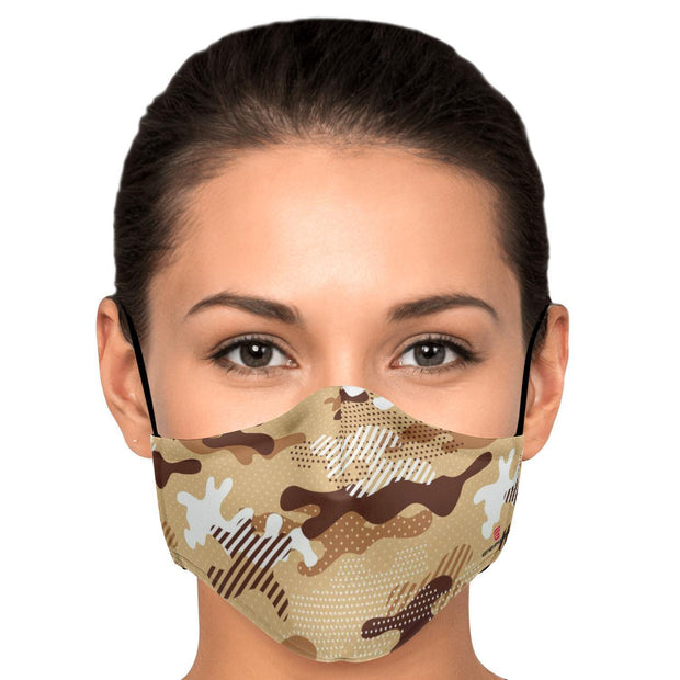 Modern Beige Camouflage Fashion Face Mask With PM 2.5 Carbon Filter - Get Set Style Metro