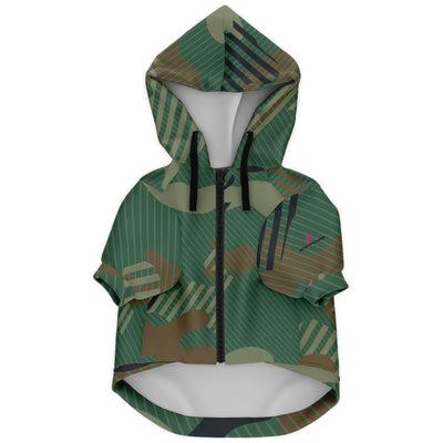 Green Camouflage Fashion Dog Zip-Up Hoodie - AOP - Get Set Style Metro