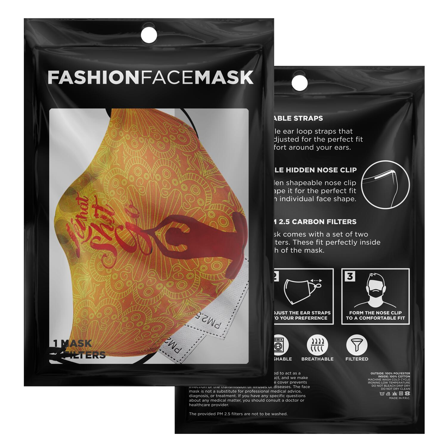 Yoga Fashion Face Mask With PM2.5 Carbon Filter - Get Set Style Metro