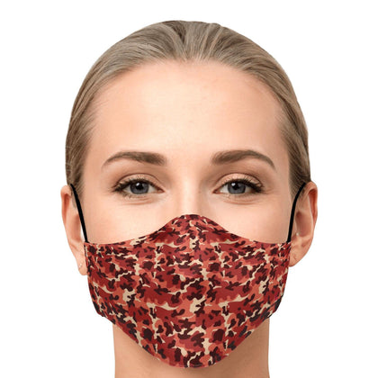 Bloody Red Camouflage Fashion Face Mask With PM 2.5 Carbon Filter - Get Set Style Metro