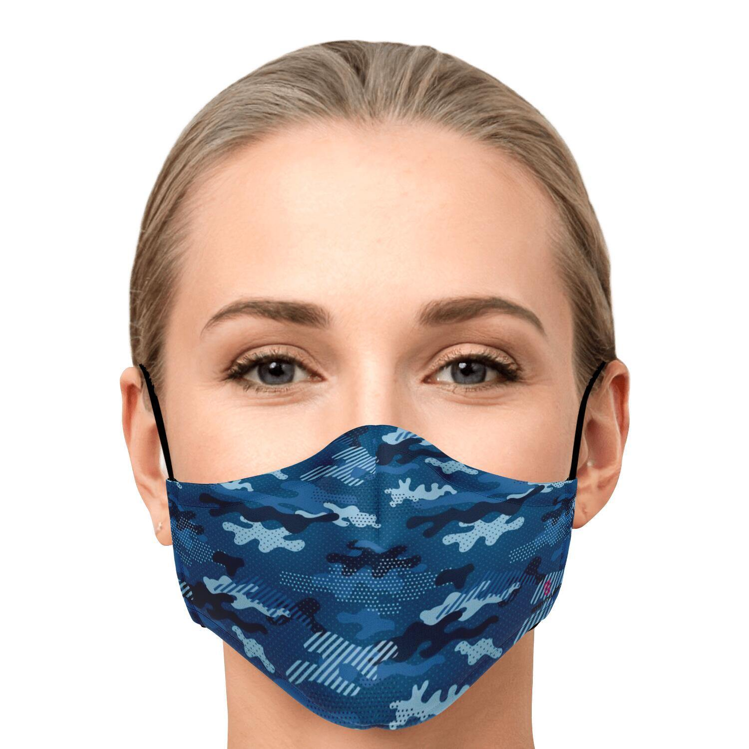 Modern Blue Camouflage Fashion Face Mask With PM 2.5 Carbon Filter - Get Set Style Metro