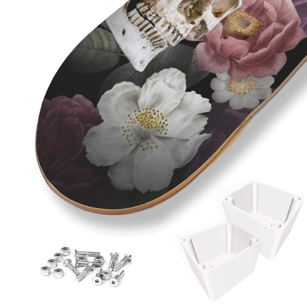 Custom Design Skulls And Flowers Skateboard Deck Wall Art - Get Set Style Metro