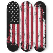 Custom Design American Flag Triple Skateboard Wall Art - Get Set Style Metro