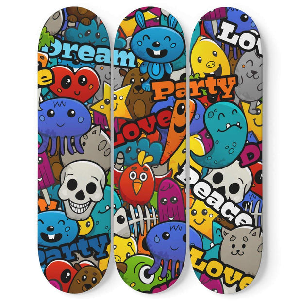 Custom Design Colorful Graffiti Skateboard Wall Art - Get Set Style Metro
