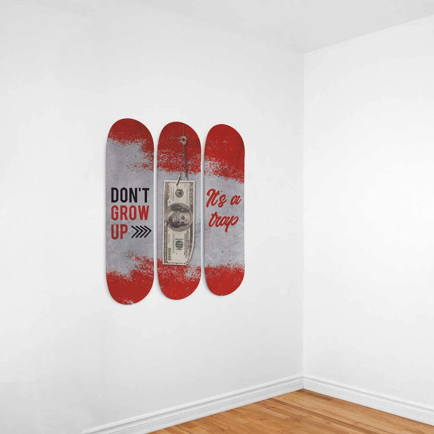 Custom Design Don´t Grow Up Triple Skateboard Wall Art - Get Set Style Metro