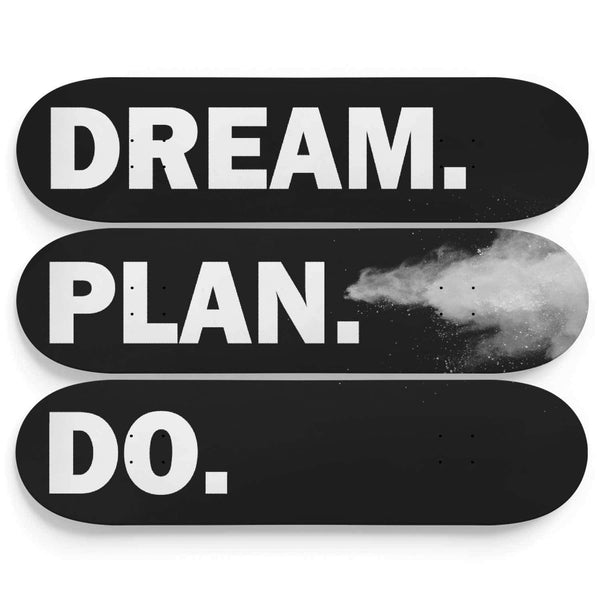Custom Design Dream Plan Do Triple Skateboard Wall Art - Get Set Style Metro