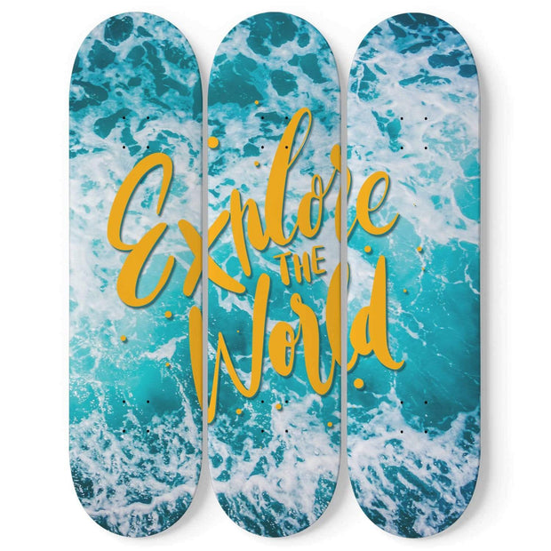 Custom Design Explore The World Triple Skateboard Wall Art - Get Set Style Metro
