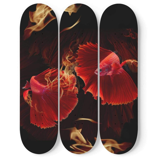Custom Design Fighter Fish Triple Skateboard Wall Art - Get Set Style Metro