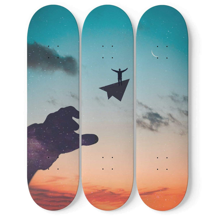 Custom Design Free Man Triple Skateboard Wall Art - Get Set Style Metro