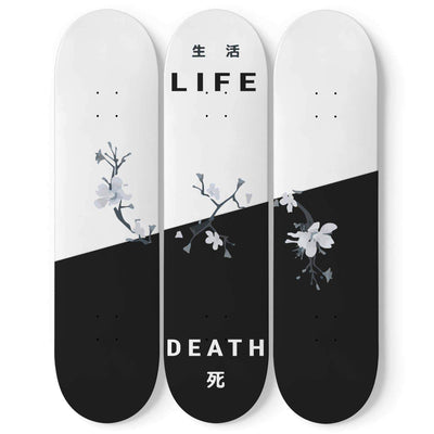 Custom Design Life And Death Triple Skateboard Wall Art - Get Set Style Metro