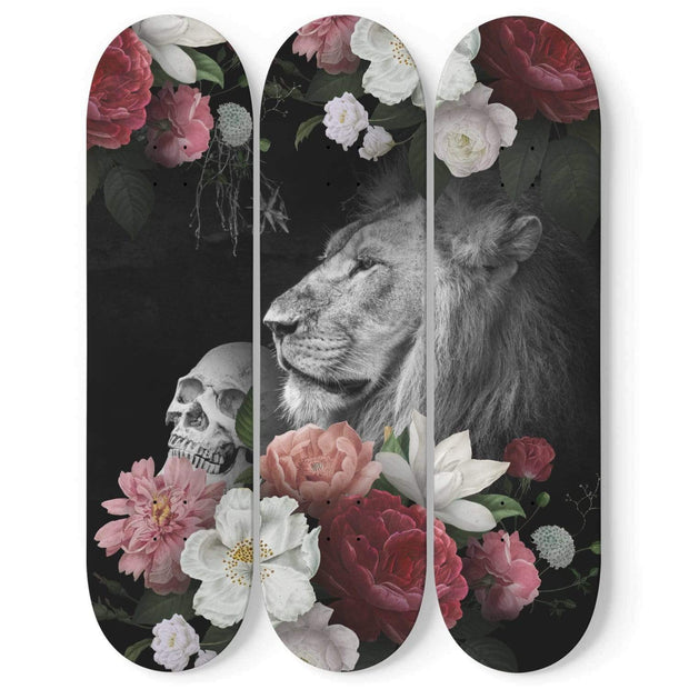 Custom Design Lion And Skull Triple Skateboard Wall Art - Get Set Style Metro