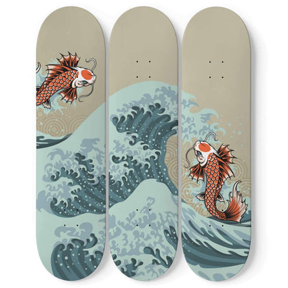 Custom Design The Great Wave And Fishes Skateboard Wall Art - Get Set Style Metro