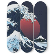 Custom Design The Great Wave Triple Skateboard Wall Art - Get Set Style Metro