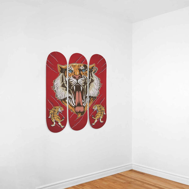 Custom Design Tiger Triple Skateboard Wall Art - Get Set Style Metro