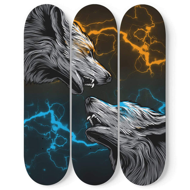 Custom Design Wolves Triple Skateboard Wall Art - Get Set Style Metro