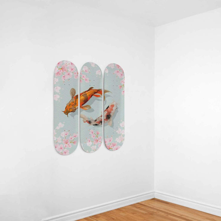 Custom Design Yin Yang Koi Fish Triple Skateboard Wall Art - Get Set Style Metro
