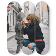 GetSetStyleMetro 3 Skateboard Wall Art Personalized With Photo 3 Skateboard Decks Wall Art