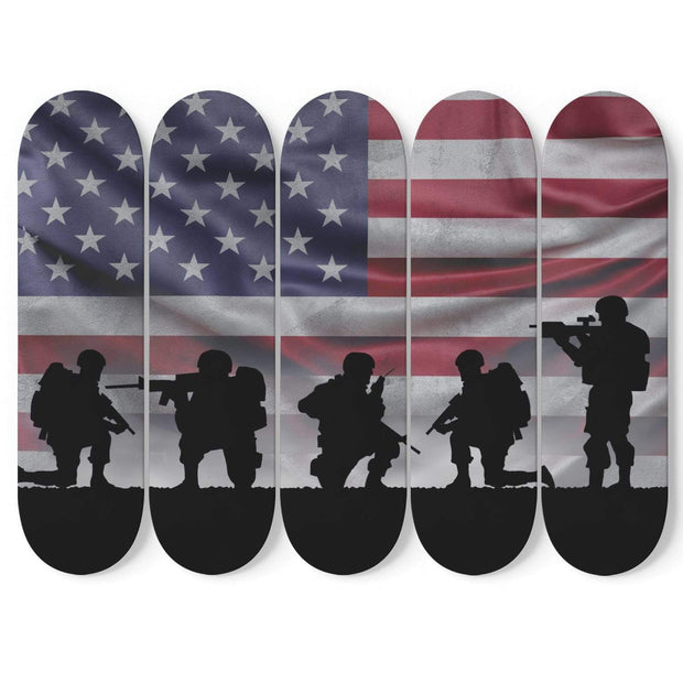 Custom Design American Soldiers Skateboard Decks Wall Art - Get Set Style Metro