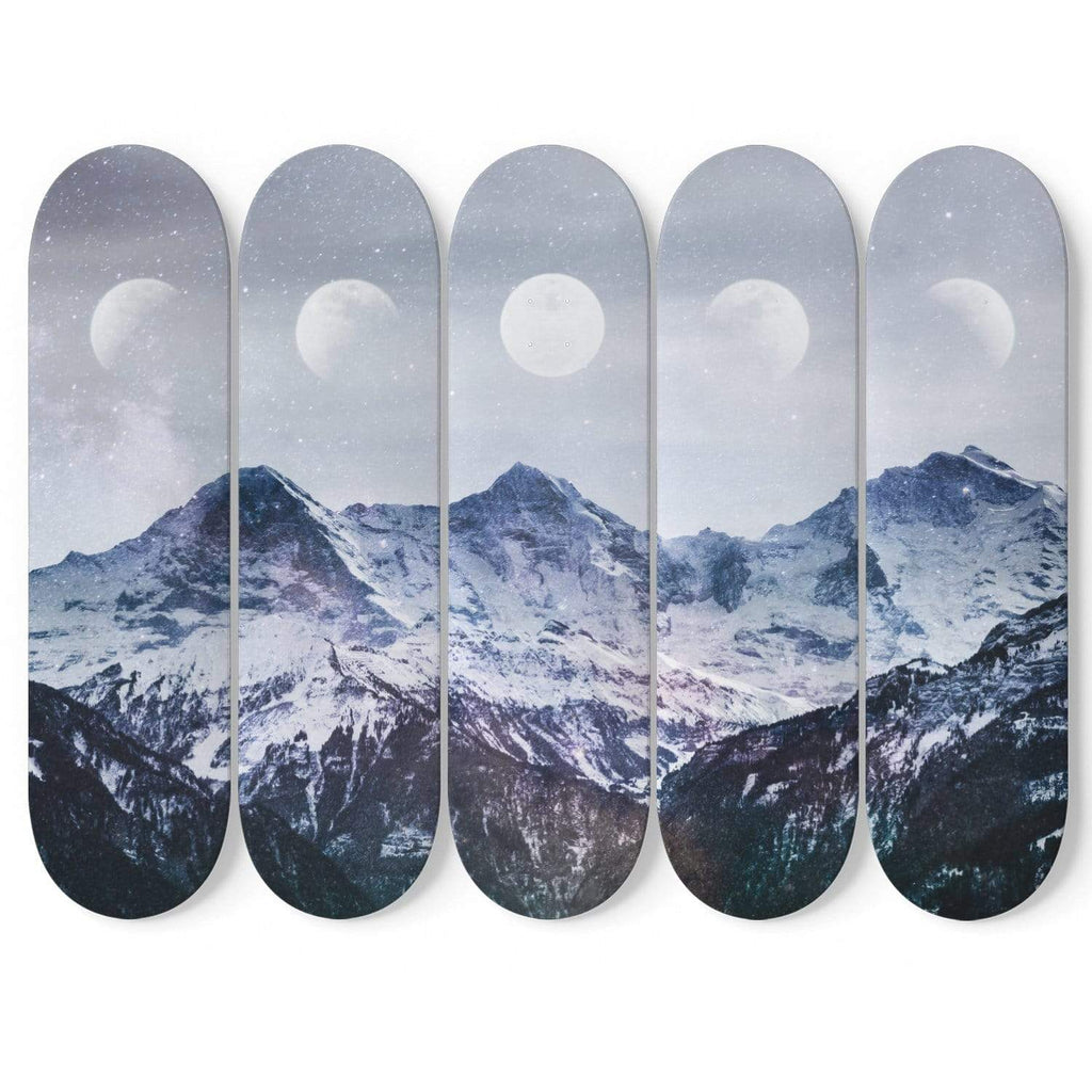 Custom Design Mountain and Moons Skateboard Decks Wall Art - Get Set Style Metro